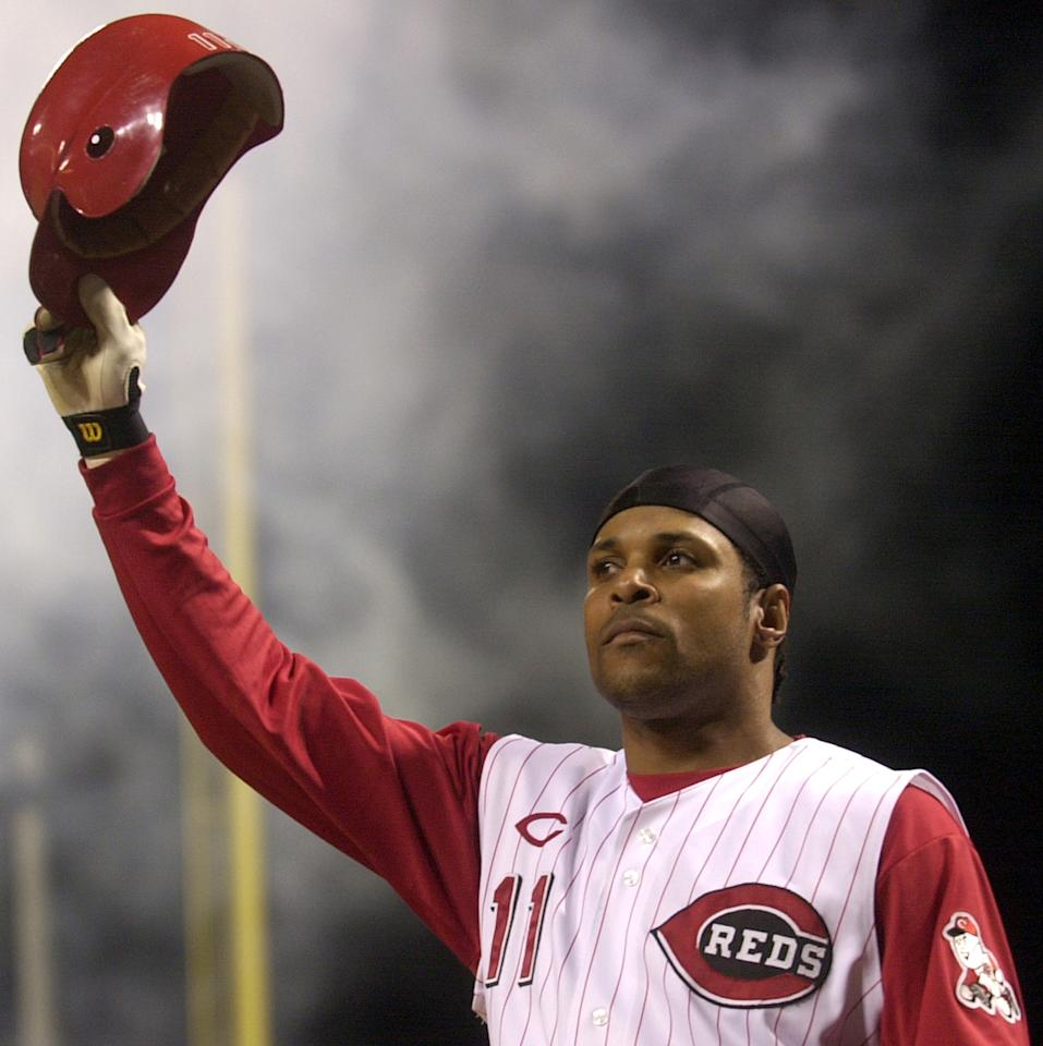 FILE - In this July 28, 2004 file photo, Cincinnati Reds' Barry Larkin takes a curtain call after hitting a pinch-hit grand slam off St. Louis Cardinals pitcher Steve Kline in the fifth inning,in Cincinnati. Larkin has been elected to baseball's Hall of Fame. The shortstop received 86 percent of the vote in balloting announced Monday, Jan. 9, 2012 by the Baseball Writers' Association of America. (AP Photo/David Kohl, File)