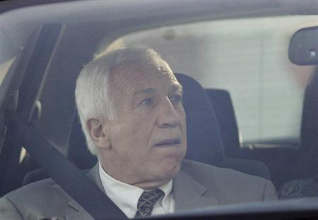 Former Penn State University assistant football coach Jerry Sandusky arrives at Centre County Court in Bellefonte