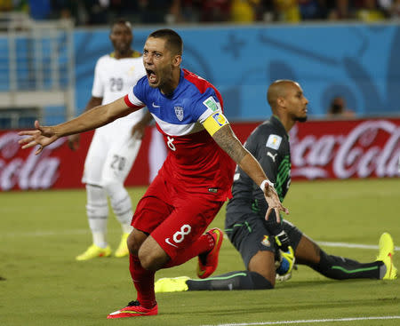 Clint Dempsey of the U.S. celebrates after scoring their first goal during their 2014 World Cup Group G soccer match against Ghana at the Dunas arena in Natal