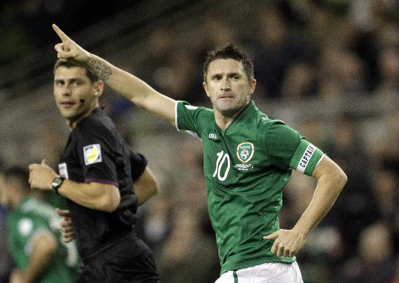 Republic of Ireland's Robbie Keane reacts after scoring a penalty against Kazakhstan during their 2014 World Cup Group C qualifier soccer match at the Aviva Stadium, Dublin, Ireland, Tuesday, Oct. 15, 2013.  (AP Photo/Peter Morrison)