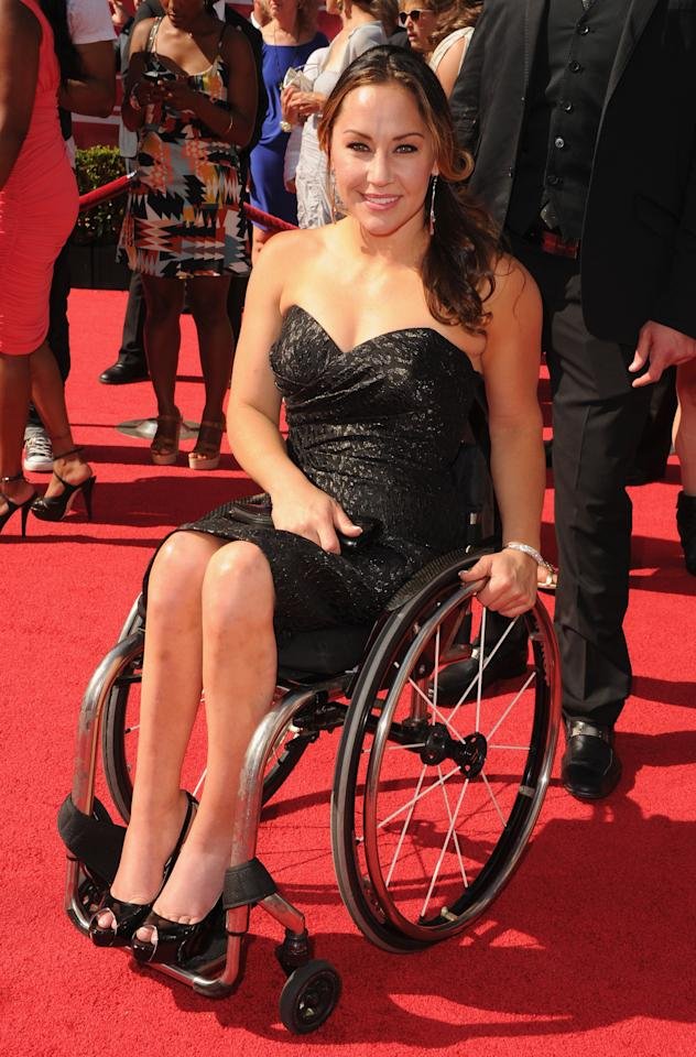 LOS ANGELES, CA - JULY 11: Paralympic wheelchair basketball player and alpine skiier Alana Nichols arrives at the 2012 ESPY Awards at Nokia Theatre L.A. Live on July 11, 2012 in Los Angeles, California.  (Photo by Steve Granitz/WireImage)