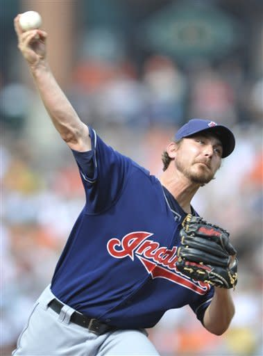 Cleveland Indians starting pitcher Josh Tomlin delivers against the Baltimore Orioles during the first inning of a baseball game Saturday, June 30, 2012 in Baltimore.(AP Photo/Gail Burton)
