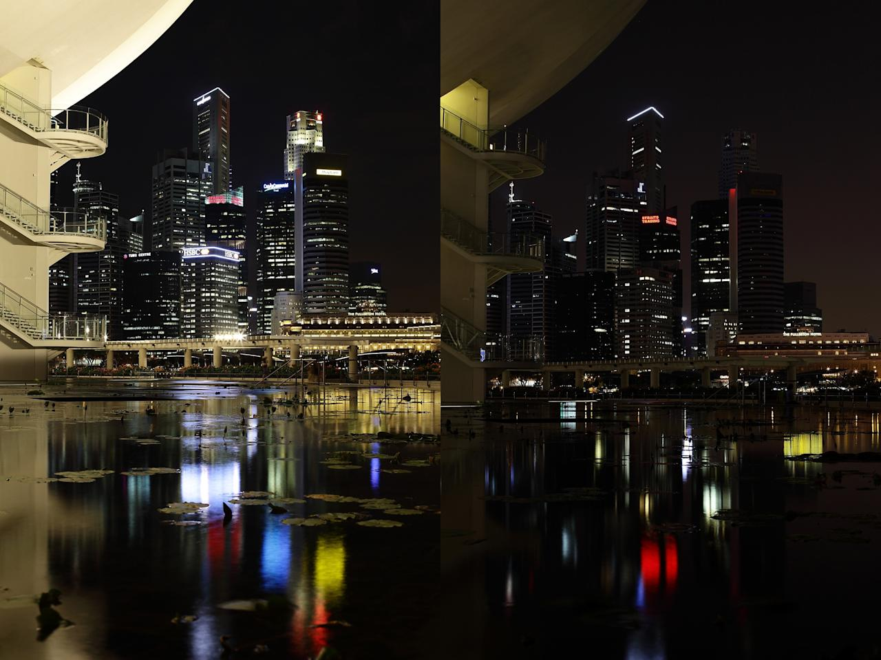 SINGAPORE - MARCH 23: (EDITORS NOTE: Image is a digital composite.)  The Arts and Science Museum and the Singapore city skyline is seen before (left) and after the lights were switched off to recognize Earth Hour on March 23, 2013 in Singapore, Singapore. Businesses and households around the world switch their lights off for an hour at 20:30 local time on March 23, to celebrate Earth Hour and raise awareness about climate change and renewable energy. Earth hour began in Australia in 2007 and is now celebrated in over 150 countries around the world.  (Photo by Suhaimi Abdullah/Getty Images)