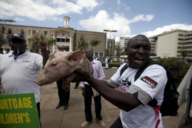 Kenyan protesters release pigs over parliament pay
