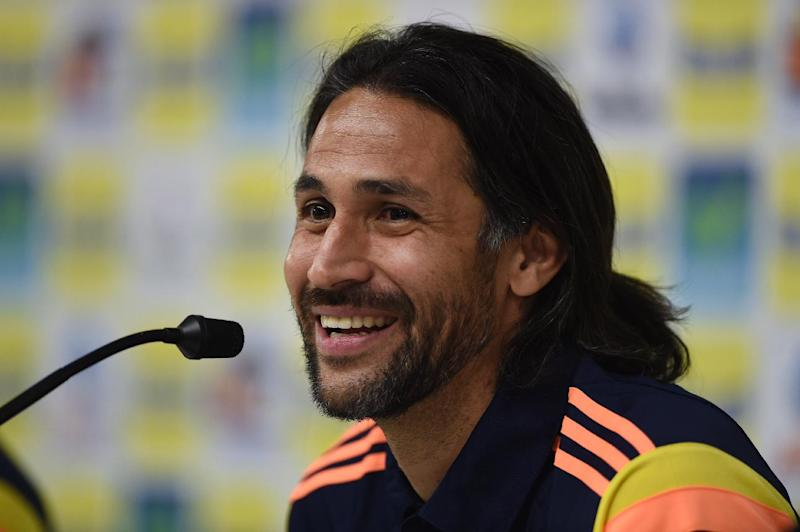 Colombia's defender Mario Alberto Yepes gives a press conference at the President Laudo Natel Athlete Formation Center in Cotia, Sao Paulo, on June 25, 2014