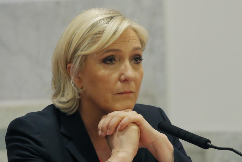 Marine Le Pen Lays Wreath At Holocaust Memorial