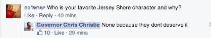 chris christie facebook
