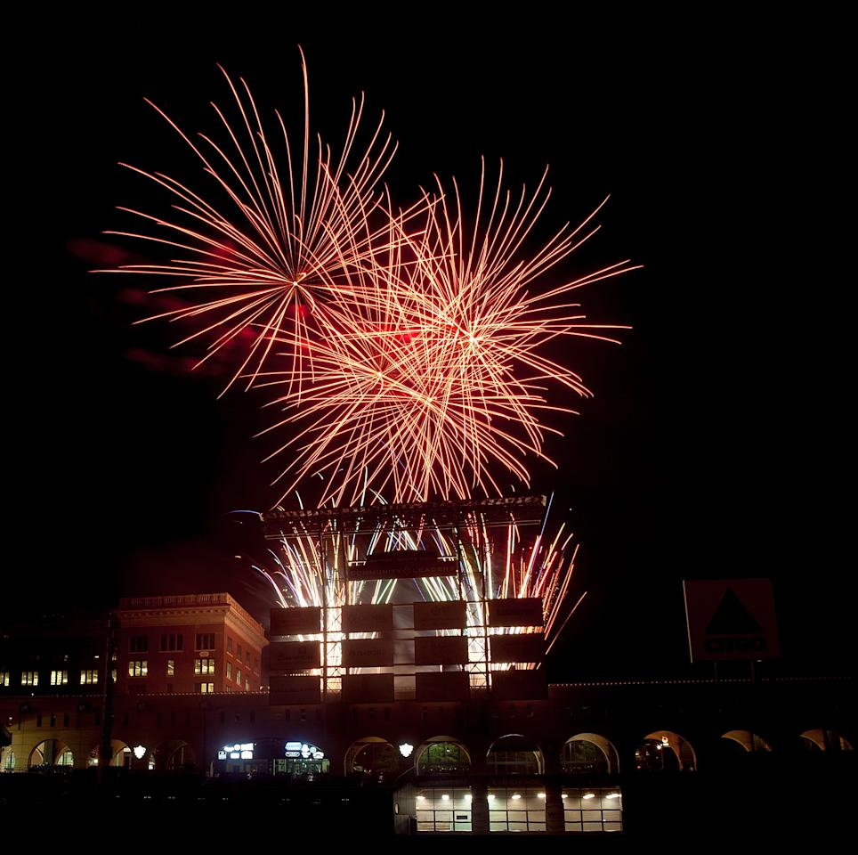 HOUSTON, TX - APRIL 19:  Friday Night Fireworks at Minute Maid Park as te Hosuton Astros defeat the Cleveland Indians 3-2 on April 19, 2013 in Houston, Texas.  (Photo by Bob Levey/Getty Images)