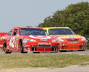 Juan Pablo Montoya and Marcos Ambrose battled for the lead most of the day at Watkins Glen