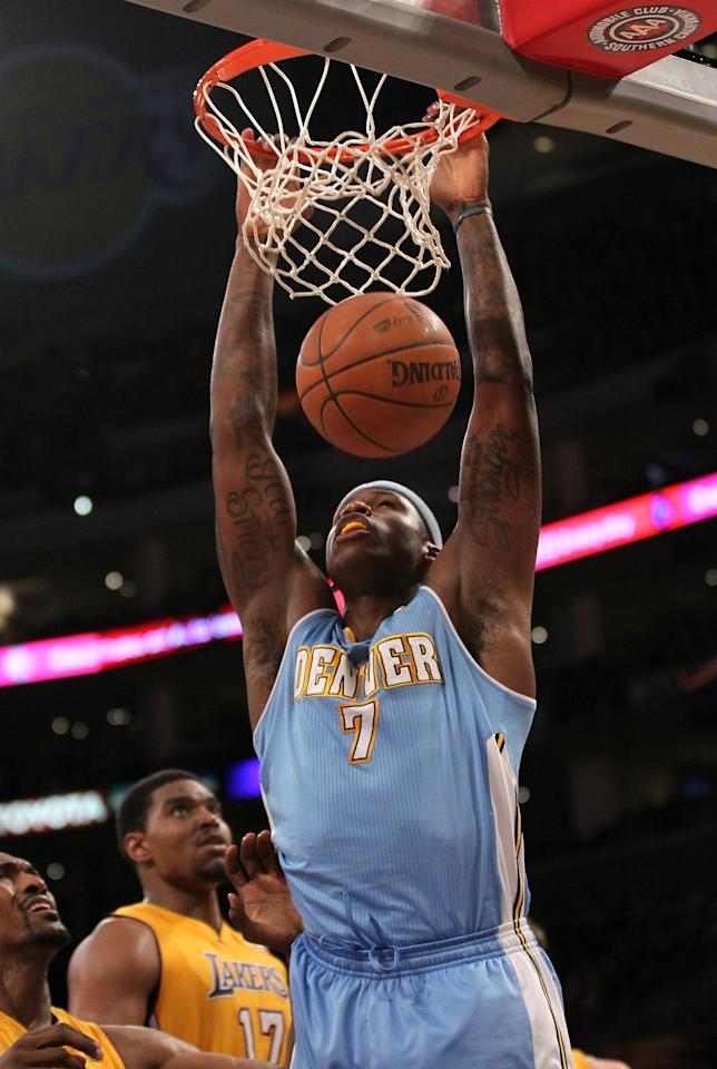 LOS ANGELES, CA - APRIL 13:  Al Harrington #7 of the Denver Nuggets dunks against the Los Angeles Lakers at Staples Center on April 13, 2012 in Los Angeles, California. The Lakers won 103-97.  NOTE TO USER: User expressly acknowledges and agrees that, by downloading and or using this photograph, User is consenting to the terms and conditions of the Getty Images License Agreement.  (Photo by Stephen Dunn/Getty Images)