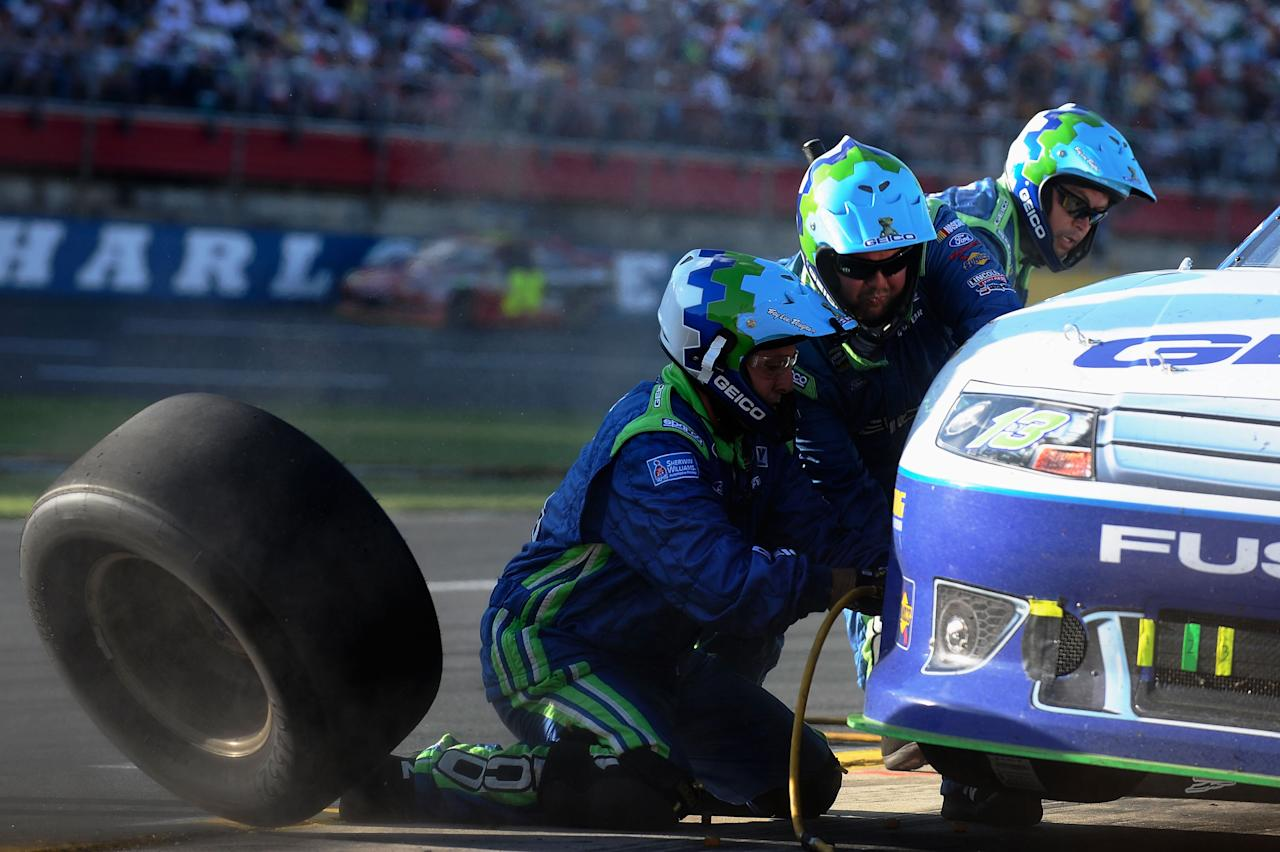 CONCORD, NC - MAY 27:  Casey Mears, driver of the #13 GEICO Ford, pits during the NASCAR Sprint Cup Series Coca-Cola 600 at Charlotte Motor Speedway on May 27, 2012 in Concord, North Carolina.  (Photo by Jared C. Tilton/Getty Images for NASCAR)