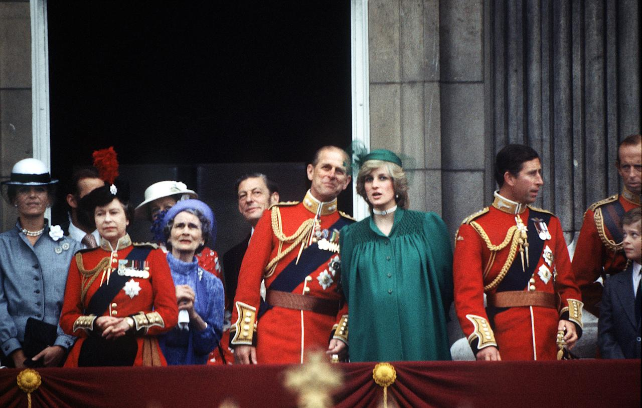 LONDON - 1982:  (FILE PHOTO) A pregnant Princess of Wales joins the royal family on the balcony of Buckingham Palace for the Trooping of the Colour ceremony, June 1982. The Queen, Prince Philip, Princess Alexandra of Kent and Angus Ogilvy are among the group. (Photo by Terry Fincher/Princess Diana Archive/Getty Images)  On July 1st  Diana, Princess Of Wales would have celebrated her 50th Birthday Please refer to the following profile on Getty Images Archival for further imagery.  http://www.gettyimages.co.uk/Search/Search.aspx?EventId=107811125&EditorialProduct=Archival For further images see also: Princess Diana: http://www.gettyimages.co.uk/Account/MediaBin/LightboxDetail.aspx?Id=17267941&MediaBinUserId=5317233 Following Diana's Death: http://www.gettyimages.co.uk/Account/MediaBin/LightboxDetail.aspx?Id=18894787&MediaBinUserId=5317233 Princess Diana  - A Style Icon: http://www.gettyimages.co.uk/Account/MediaBin/LightboxDetail.aspx?Id=18253159&MediaBinUserId=5317233