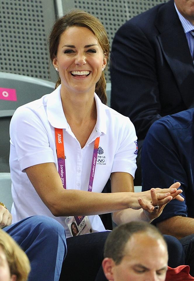 Catherine, Duchess of Cambridge during Day 6 of the London 2012 Olympic Games at Velodrome on August 2, 2012 in London, England.  (Photo by Pascal Le Segretain/Getty Images)