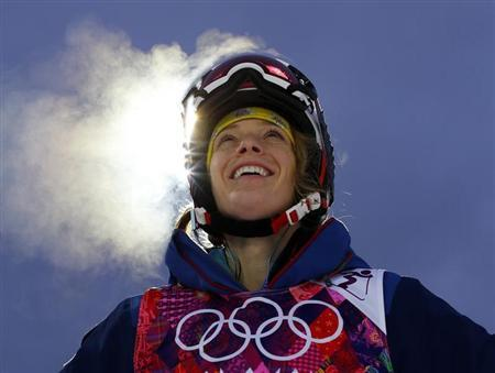 U.S. mogul skier Kearney looks up at the mountain while taking a break during a night training session for the 2014 Sochi Winter Olympics at the extreme park in Rosa Khutor
