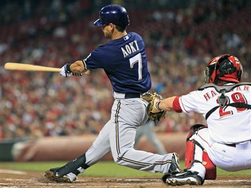 Milwaukee Brewers' Norichika Aoki, from Japan, hits a solo home run in the third inning of a baseball game against the Milwaukee Brewers, Wednesday, Sept. 26, 2012, in Cincinnati. Ryan Hanigan catches at right. (AP Photo/Al Behrman)