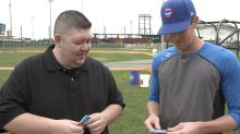 Opening 25-year-old baseball cards with Cubs pitcher Kyle Hendricks