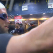 Bryce Harper celebrated winning the NL East in a Katie Ledecky swim cap