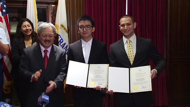 Men honored for rescuing woman in SF Bay