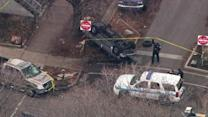 Driver fleeing police crashes in Lakeview