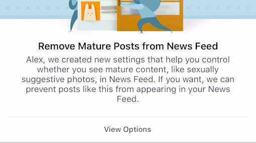 Facebook is letting people hide mature content from the News Feed for the first time