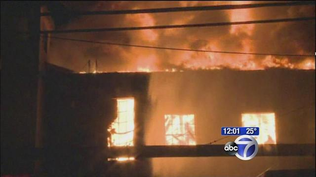 Large warehouse fire in New Jersey
