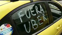 Taxi drivers protest against Uber in Mexico City