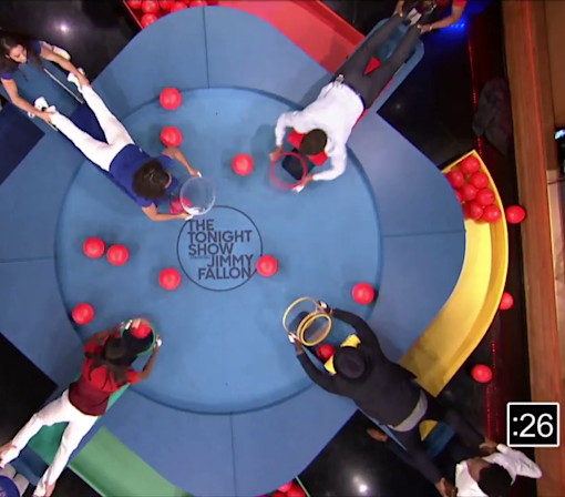 Watch the U.S. women's gymnastics team play a human version of 'Hungry Hungry Hippos'