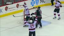 Adam Henrique slices it past Cam Ward