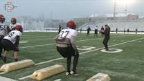 Aztecs Practice In Cold, Then Race Go Karts