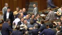 Raw: Lawmakers Scuffle in Ukraine's Parliament
