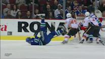 David Booth gets awesome assist while falling