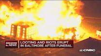 Baltimore burning as rioters set fires