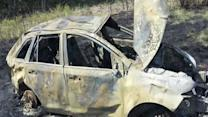 Two men save driver from burning car