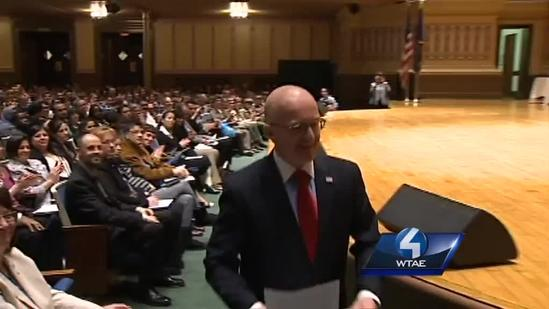 RAW Video: Local teacher gives keynote speech at citizenship ceremony