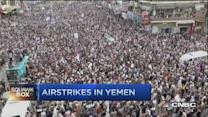 Yemen air strikes prompt protests