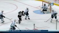 Jeff Carter beats Roberto Luongo up high