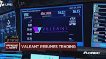 Valeant resumes trading after halting for board announcem...