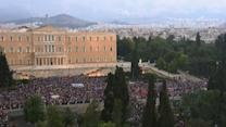 Raw: Pro-Europe rally outside Greece parliament