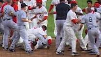 Baseball players brawl during game