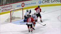 Shaw deflects puck past Elliott