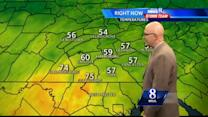 Expect scattered showers, warm temperatures today