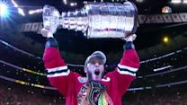 Bettman hands the Stanley Cup to Toews