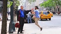 New York man high fives people hailing taxis