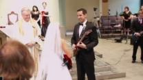 Bride and groom celebrate wedding with guitars