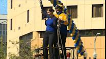 MC Hammer joins Warriors parade in unusual fashion