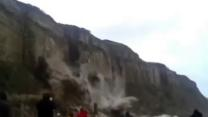 Raw: Dramatic Footage of Cliff Collapse in UK