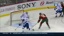 Dany Heatley pushes one past Bishop