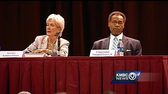 HHS Secretary Sebelius attends Independence town hall meeting