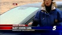 Freezing rain, sleet covers cars across Oklahoma City