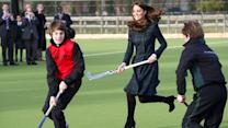 Duchess Kate visits her prep school, plays field hockey